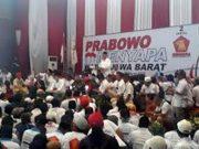Prabowo Subianto saat berpidato di depan ribuan kader Gerindra