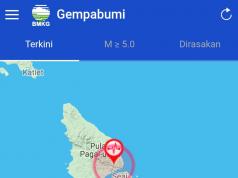 Titik gempa di Pulau Pagai Utara, Kepulauan Mentawai