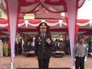 Kapolres Rokan Hilir AKBP Sigit Adiwuryanto SIK MH memimpin apel hari ulang tahun (HUT) Bhayangkara yang ke-72