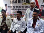 Presiden PKS Sohibul Iman saat halal bihalal bersama kader PKS NTB di Kantor DPW PKS NTB di Jalan Lingkar Selatan, Mataram, NTB