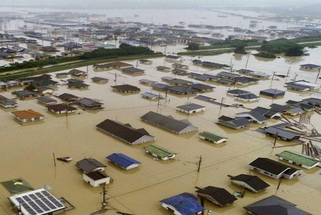 Wilayah yang diterjang banjir di Kurashiki, Perfektur Okayama, Jepang bagian Barat