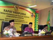 Plt Bupati Kampar Catur Sugeng Susanto SH, Sekdaprov Riau Ahmad Hijazi dan pimpinan DPRD Kampar mengikuti rapat paripurna istimewa
