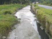 Terlihat aliran air sungai bondar balok yang tercemar limbah pabrik tepung kelapa milik CV Sejahtera di Kecamatan Air Joman, Kab. Asahan.
