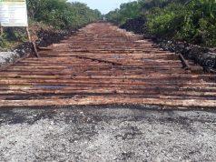 Kondisi pembangunan jalan Desa Darul Aman Teluk Tungku.